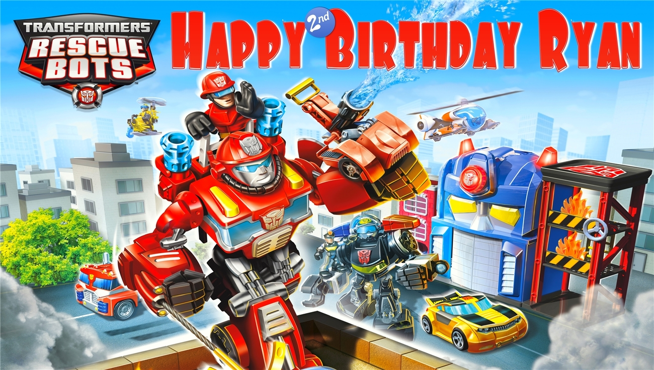 Transformers Rescue Bots -Personalized- Vinyl Birthday Banner Decoration