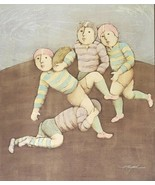 Rare & Signed J. Roybal Children Playing Football Rugby Sports Art Painting - $367.49