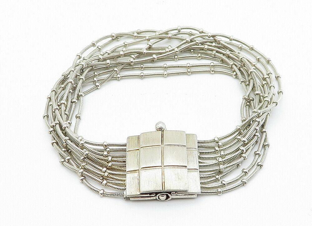 925 Sterling Silver - Vintage Multi-Strand Checkered Chain Bracelet - B6001 image 2