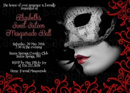 Masquerade, Red, Black Personalized, Sweet Sixteen, Birthday Invitation,... - £9.30 GBP