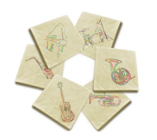 Vintage Beige Linen Cloth Music Instrument Printed Napkin Lot of 6