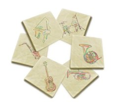 Vintage Beige Linen Cloth Music Instrument Printed Napkin Lot of 6 - $17.99