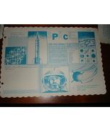 3 VINTAGE 1962 RESTAURANT DINER PAPER PLACEMATS SPACE THEME ROCKETS JUPITER - $7.99