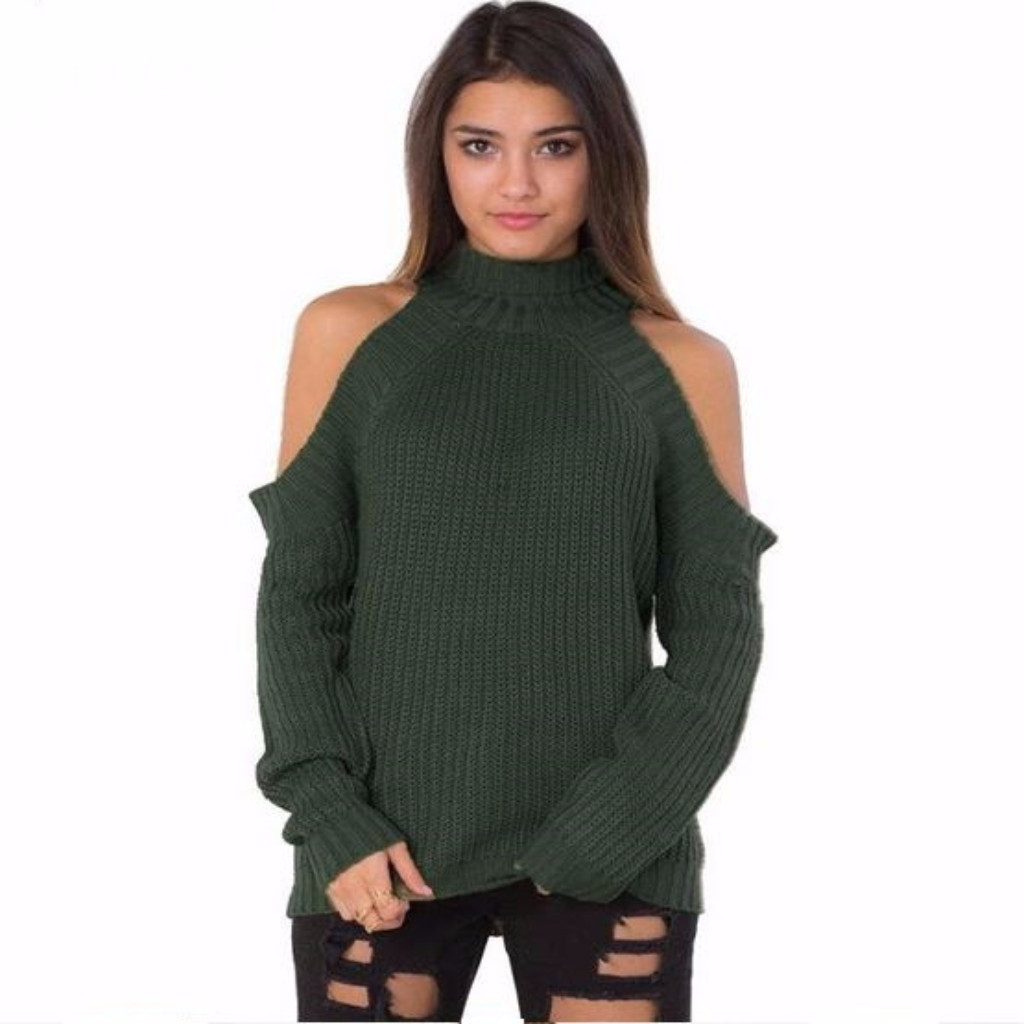 Fabulous sexy sweater with off shoulder design, to show sexy smooth shoulder, ribbed neckline, cuff and hemline. It will let you outstanding in the crowd.