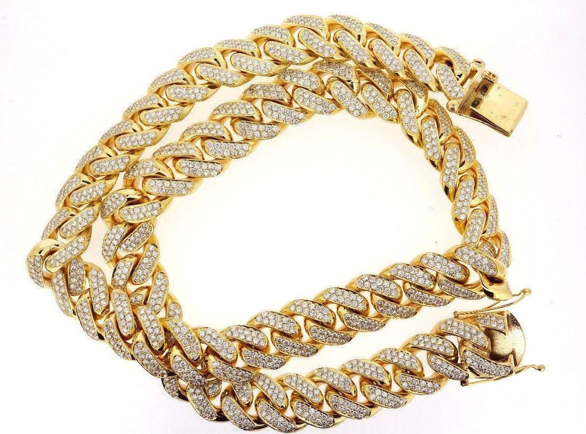1 Kilo Solid Yellow Gold Miami Cuban Link Chain 22 MM 100 Carats Real Diamond