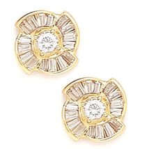 14K Solid Yellow Gold 10MM Cubic Zircon Flower Stud Earrings Puch Back E... - $227.68
