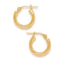 14K Solid Yellow Gold Classic Hoop Earrings ER-HE33 - $51.24