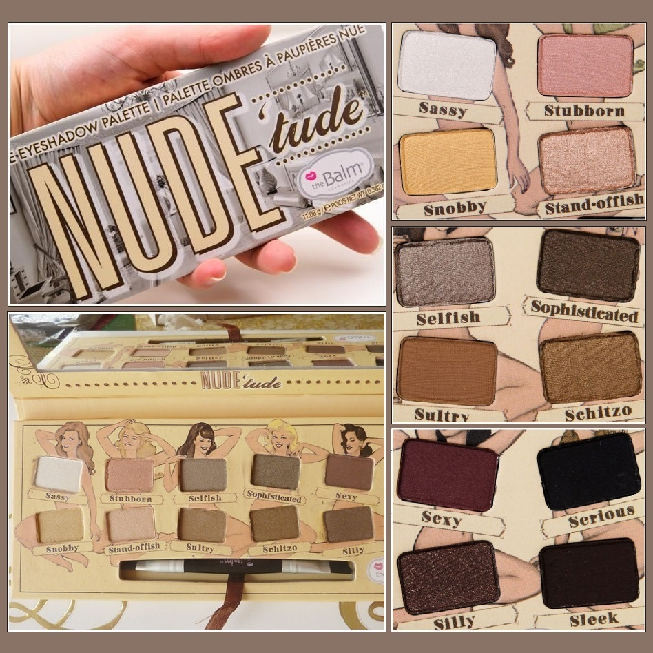 Nude Tude Natural 12 Earth Tones Eye Shadow Palette with Applicator Brush