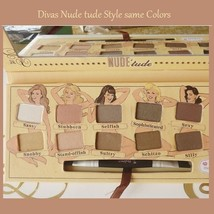 Nude Tude Natural 12 Earth Tones Eye Shadow Palette with Applicator Brush  image 2