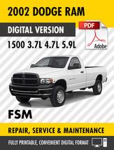 2002 Dodge Ram 1500 Truck 3.7L 4.7L 5.9L Factory Repair Service Manual - $15.00