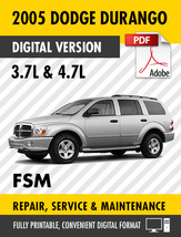 2005 Dodge Durango 3.7L 4.7L Factory Repair Service Manual - $15.00
