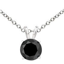 3 Carat Natural Black Diamond 4 Prong 14K White Gold Solitaire Pendant W/ Chain - $326.68+