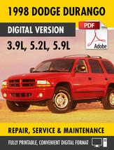 1998 Dodge Durango 3.9L 5.2L 5.9L Factory Repair Service Manual - $15.00