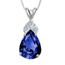 3.25 CT 14K Solid White Gold Sapphire Pear Shape Basket Setting Pendant w/ Chain - $70.47+