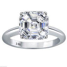 5.00 CTW Asscher Cut Solitaire Wedding Engagement  Ring Set In 14k White Gold - £260.62 GBP