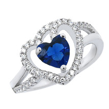 Heart Shaped Halo Ring With Blue Sapphire & White Sapphire In Sterling S... - £20.29 GBP