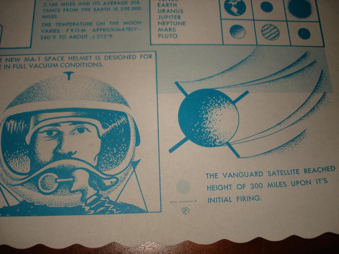 3 VINTAGE 1962 RESTAURANT DINER PAPER PLACEMATS SPACE THEME ROCKETS JUPITER