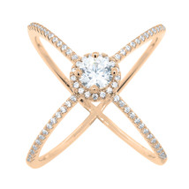 X Ring - Criss Cross Ring Cubic Zirconia 14k Rose Pink Gold 925 Sterling... - £28.00 GBP