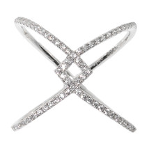 X Ring - Criss Cross Ring Cubic Zirconia 14k White Gold 925 Sterling Silver - £28.00 GBP