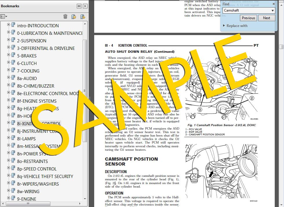 1999 Dodge/Chrysler/Plymouth Stratus Cirrus Breeze Factory Repair Service Manual