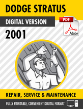 2001 Dodge Stratus Chrysler Sebring Factory Repair Service Manual - $15.00
