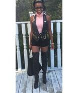 Mint Designer Black Cache Leather Motorcycle halter Biker Vest Jacket co... - $299.99