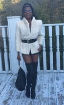 Designer Classy white blonde soft Mink Fur coat jacket Stroller Bolero S... - $799.99