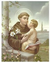 "Catholic Print ST. ANTHONY of Padue w/ Child Jesus 8x10"" ready to frame - $14.01"