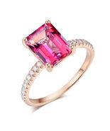 14K Rose Gold Bridal Engagement Ring 2.8 Ct Pink Topaz 0.16 Ct Natural D... - $399.99