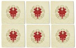 Vintage Flower Circle Decoration Printed Beige Linen Napkin Lot of 6 - €15,25 EUR