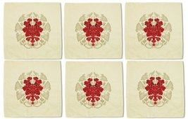 Vintage Flower Circle Decoration Printed Beige Linen Napkin Lot of 6 - €19,74 EUR