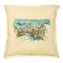 Vietsbay's Street and church in winter Prints Khaki Decorative Pillows Case - $15.99