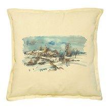 Vietsbay's Village With a Church in Winter Prints Khaki Decorative Pillo... - $15.99