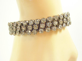 SPARKLING Clear Rhinestone Expansion Bracelet Silver Plate Classic 1950s Vintage - $18.80