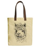 Vietsbay's Lama Alpaca Graphic Canvas Tote Bags with Leather Handles - $23.99