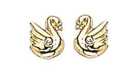 """14K GOLD EARRINGS Classy Swan Design with Screw back Closure """"ON SALE"""" - $27.92"""
