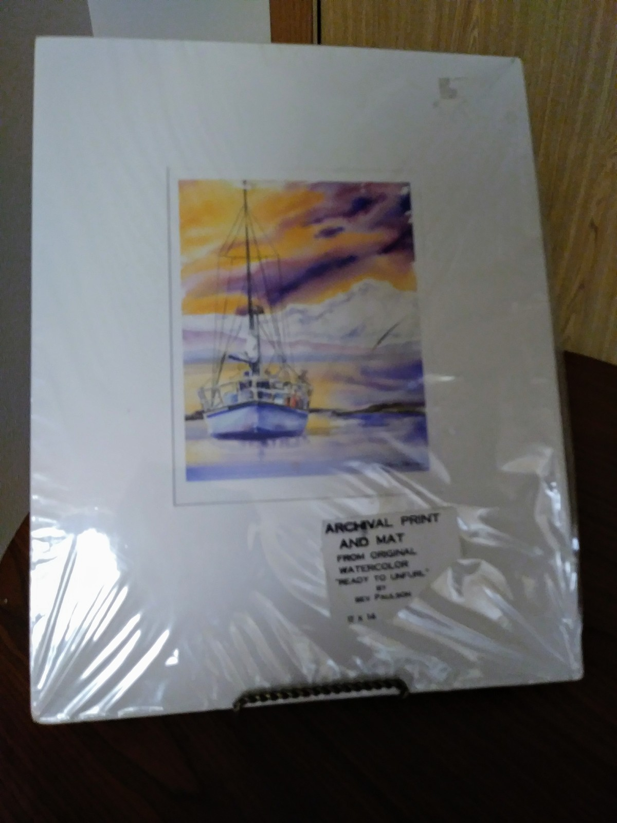 "Archival Print and Mat  From Original Watercolor Sailing Boat ""Ready To Unfurl"""