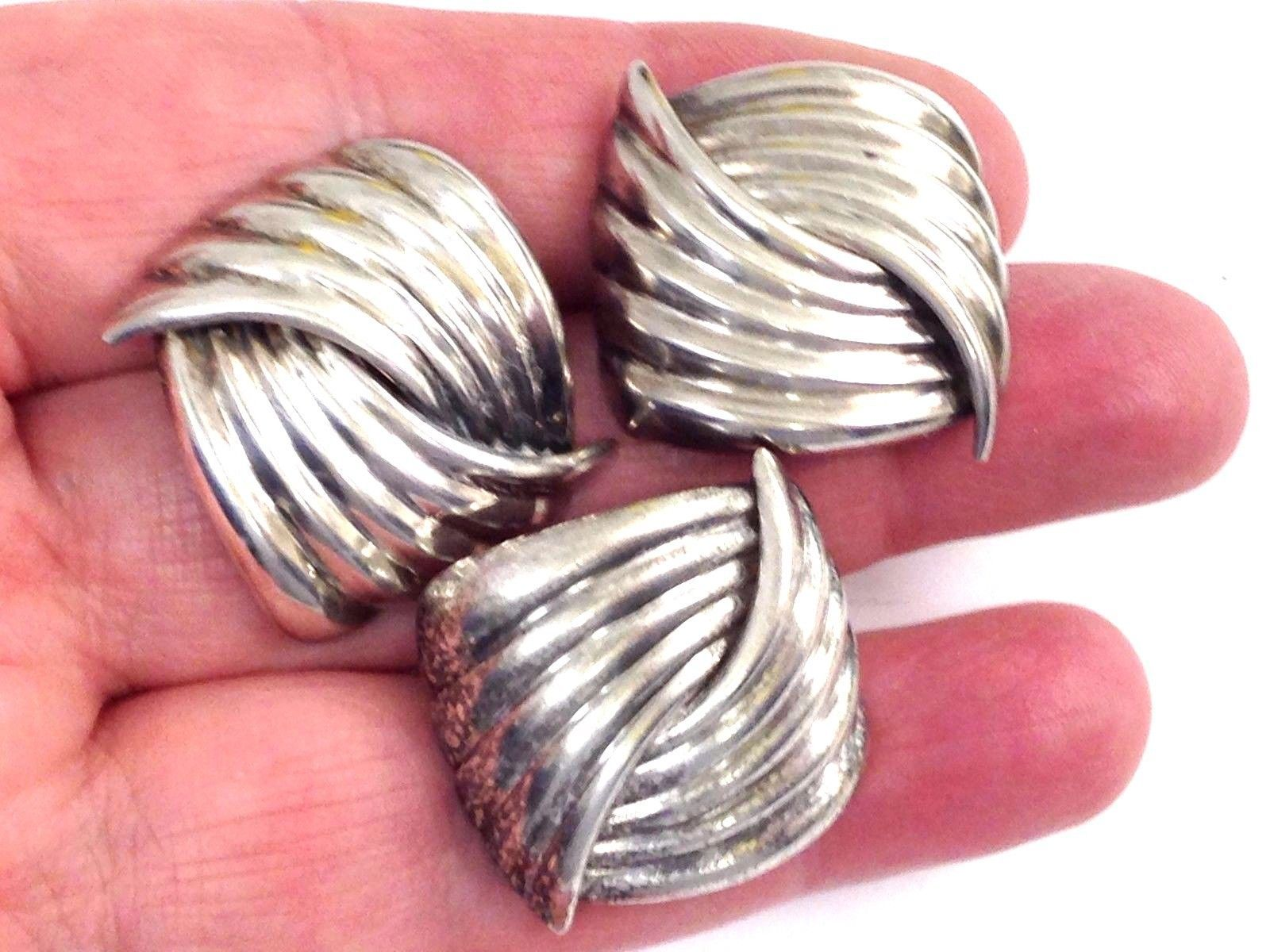 Primary image for 3 VINTAGE STERLING SILVER SIGNED MODERNIST EARRINGS 925