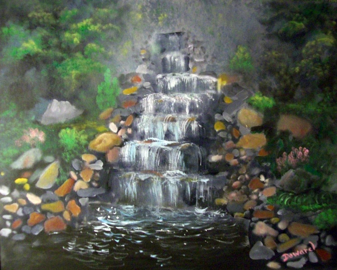 """Original 16x20 Acrylic on board """"The Waterfall"""""""