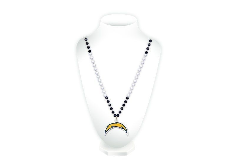 SAN DIEGO CHARGERS MARDI GRAS BEADS with MEDALLION NECKLACE NFL FOOTBALL