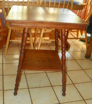 Solid Oak Carved Parlor Table / Lamp Table  (T176) - $499.00