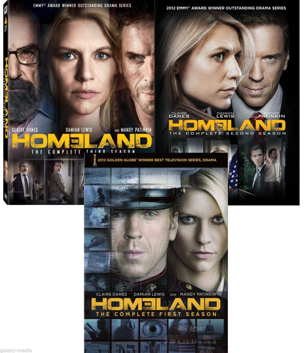 Homeland Season One-Three 1-3 DVD bundle 1 2 3 (12-Disc, 2012-2014) Damian Lewis
