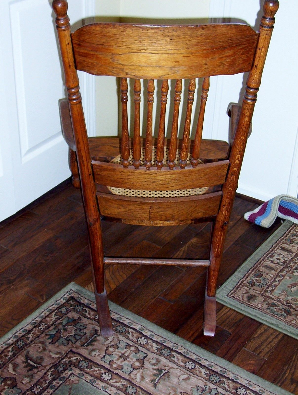 Antique Rocking Chair Oak Press Back W/ Spindles Cane Seat Pick UP . Full resolution  image, nominally Width 1207 Height 1600 pixels, image with #713A20.