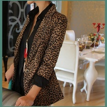 Retro Turn Down Collar Single Button Brown Leopard Blazer Coat Jacket