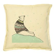 Vietsbay's Polar Bear in Sweater Prints Khaki Decorative Pillows Cover C... - €13,99 EUR
