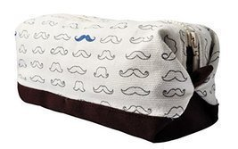 Vietsbay's Women Hipster Mustache Canvas Toiletry Bag Makeup Cosmetic Pouch - £9.00 GBP