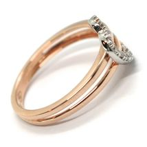 SOLID 18K ROSE GOLD DOUBLE TUBE BAND RING WITH CENTRAL CUBIC ZIRCONIA HEART image 3