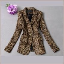 Retro Turn Down Collar Single Button Brown Leopard Blazer Coat Jacket image 2