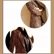 Retro Turn Down Collar Single Button Brown Leopard Blazer Coat Jacket image 3