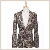 Retro Turn Down Collar Single Button Brown Leopard Blazer Coat Jacket image 4